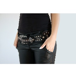 Handmade Leather Black/Brown Belt Glam Shoot