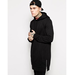 Men's Black Long Cotton Hoodie