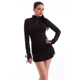 Necessary Evil Jersey Black Lace Up Collar Long Sleeved Top $9 To Ship