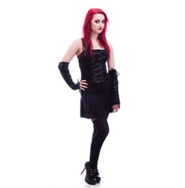 Necessary Evil Black Corset Front Gothic Cami Top $9 Shipping