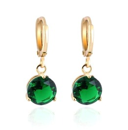 Gorgeous Emerald Green Ziron 18kt Gold Plated Earrings