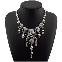 Gold/Silver Colors Pirate Crystal Skulls Bones Necklace