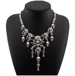 Gold/Silver Colors Pirate Crystal Skulls Bones Necklace