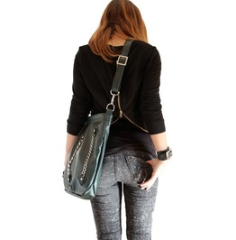 Handmade Dark Green Leather Handbag Casual'n'chains