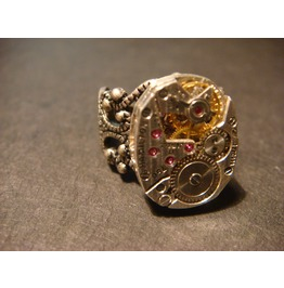 Steampunk Watch Movement Ring Exposed Gears