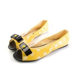 Iron Fist Shoes Women's Yellow Polka Party Peep Toe Rockabilly Flats