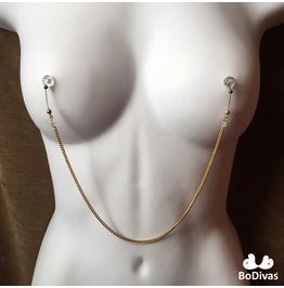 Nipple Noose | Burlesque Chain Gold | Swarovski Crystals | Non Piercing