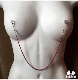 Nipple Noose | Burlesque Chain Red | Swarovski Crystals | Non Piercing