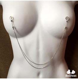 Nipple Noose   Double Chain Silver   Swarovski Crystals   Hematite Ball