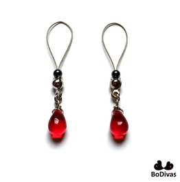 Nipple Noose   Stainless   Red Crystal Drop   Hematite Stopper Ball