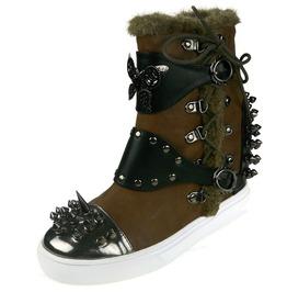 Hades Shoes Women's Phelan Brown High Top Steampunk Sneakers
