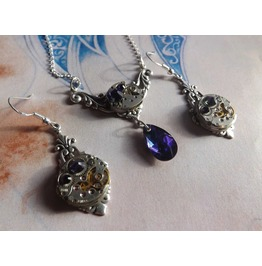 Steampunk Jewelry Set Purple Heliotrope Steampunk Wedding Set