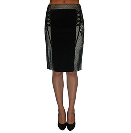 Tripp Black Velvet And Beige Lace Knee Length Skirt Free To Ship