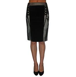 Tripp Black Velvet And Beige Lace Knee Length Skirt $9 To Ship