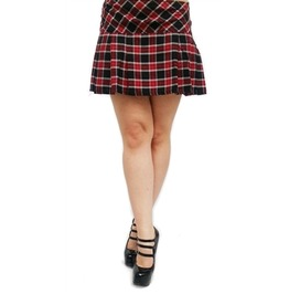 Necessary Evil Black Red White Tartan Pleated Plaid Mini Skirt $9 To Ship