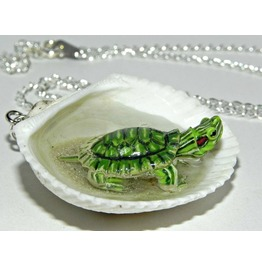 Tiny Turtle Jacuzzi Seashell Necklace