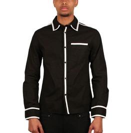 Tripp Black White Trim Button Dress Shirt Size Small Free Shipping