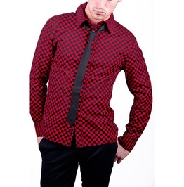 Tripp Black Red Checkered Button Dress Shirt Size Small Free Shipping
