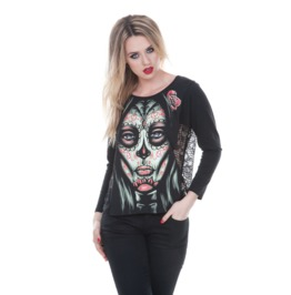 Jawbreaker Women's Muertos Sugar Skull Lace Top