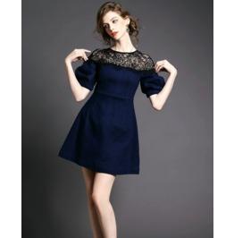 Lace Shoulder Navy Blue Short Dress