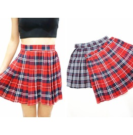 Red Plaid Pleated Skirt Red