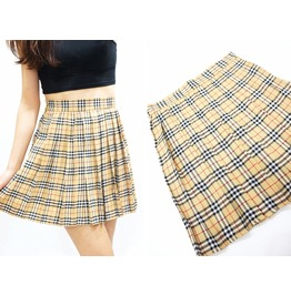 Beige Plaid Skater Skirt