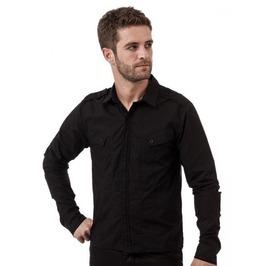 Black Button Up Dress Shirt Diagonal Pockets & Epaulets Size Xl Discounted