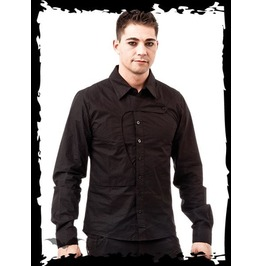 Black Gothic Button Up Dress Shirt Victorian Flap Detail $9 To Ship