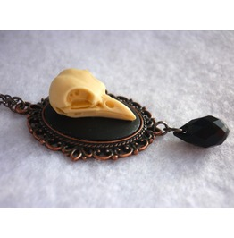 Raven Skull Necklace Gunmetal/Copper Crow Nevermore Goth Poe