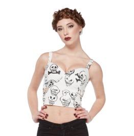 Jawbreaker Women's White Dead Skulls Bustier