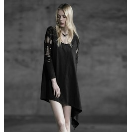 Cut Long Sleeves Black Steampunk Dress