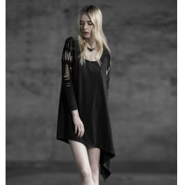 Cut Long Sleeves Black Steampunk Dress