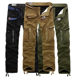 Men's Khaki/Black/Green Multi Pocket Cargo Pants