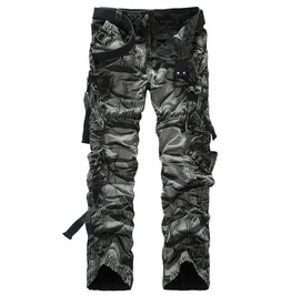 Multi Pocketed Men's Black/Green Camo Cargo Pants