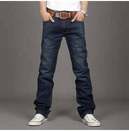 Men's Straight Fit Blue Denim Jeans