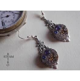 Art Deco Steampunk Earrings Purple & Blue Steampunk Earrings