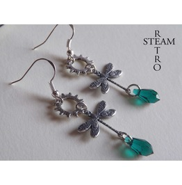 Mechanical Dragonfly Earrings Steampunk Emerald Earrings