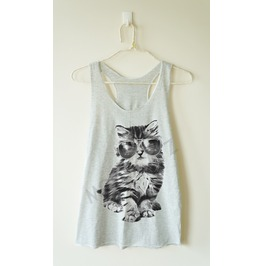 Glasses Cat Shirt Galaxy Shirt Meow Top Animal Top Tank Racer Women Shirt