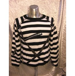 Black White Stripe Jailbird Bondage Sweater Last One Size Small $9 To Ship