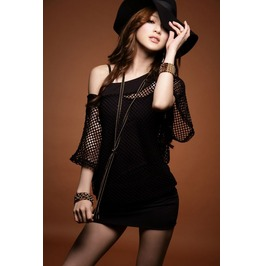 Slim Fit Batwing Net Sleeves Black Dress