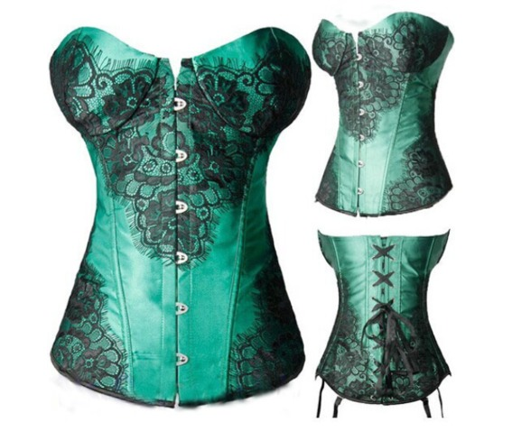 steampunk_green_vintage_print_bustier_corset_bustiers_and_corsets_3.PNG