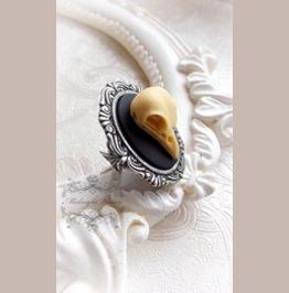 Raven Skull Ring Dark Macabre Horror Gothic Handmade Jewelry