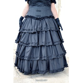 Cotton Twill Skirt Ruffles , Steampunk ,Gothic Styles, Romantic, V