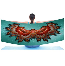 Fractal Digital Art Wing Span Scarf / Shawl Digitally Printed