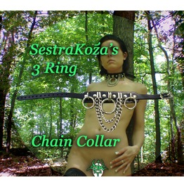 Three Ring Chain Collar Leather Sestra Koza
