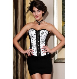 White/Black/Red Floral Overbust Gothic/Burlesque Corset Plus Sizes