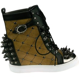 Hades Shoes Women's Rhino Tan Studded Steampunk Sneakers