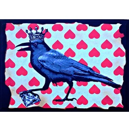 """Raven King"" Mixed Media Wood"