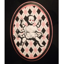 """Six Armed Baby Argyle"" Mixed Media Wood"