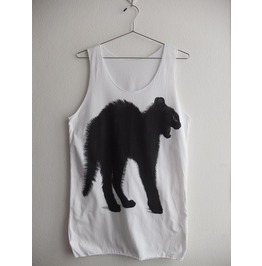 Cat Black Cat Cute Animal Fashion Print Vest Tank Top M